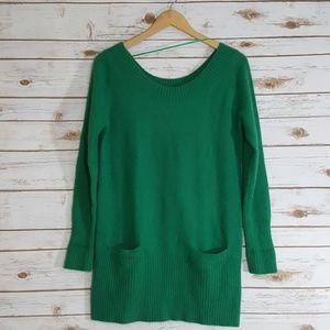 H&M Fuzzy Green Angora Blend Tunic Sweater Size M